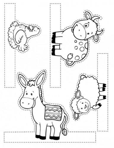 Il bue, l'asinello, la pecorella e una gallina