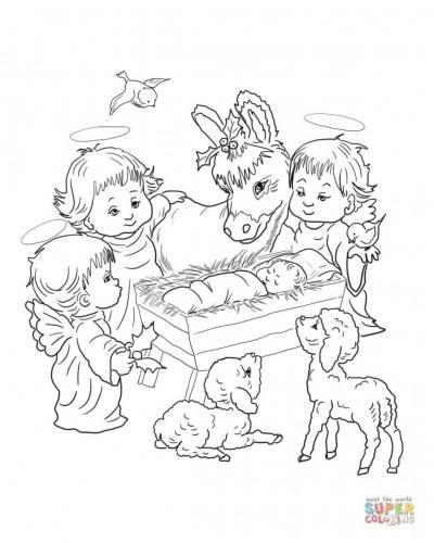 Gesù bambino circondato da angioletti e animali