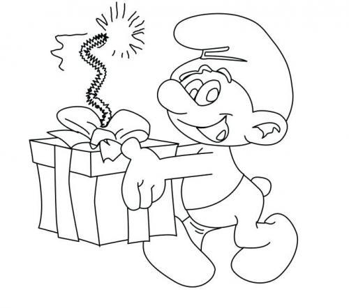 puffo con un regalo speciale