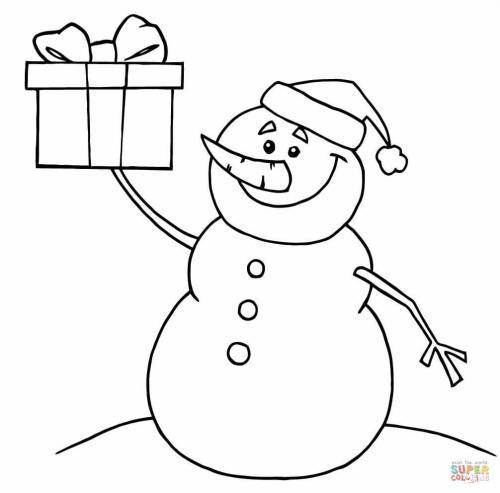 pupazzo di neve con un regalo