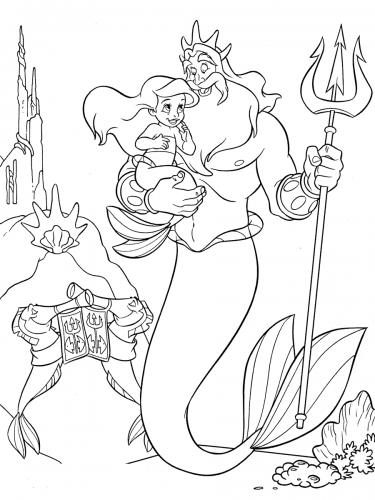 re Tritone con Ariel da piccola