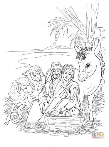 sacra famiglia, asinello e caprette