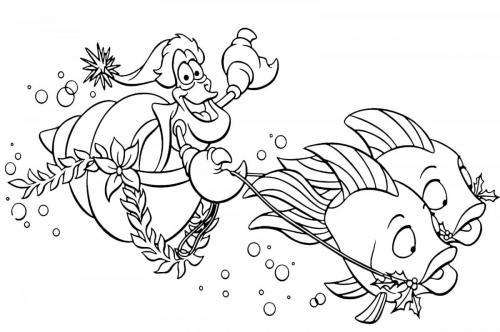 Sebastian su una carrozza trainato da due pesci