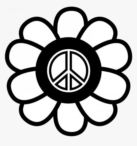 simbolo della pace bianco e nero