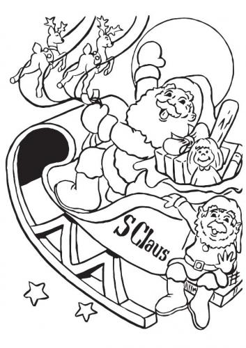 Slitta di Babbo Natale da colorare