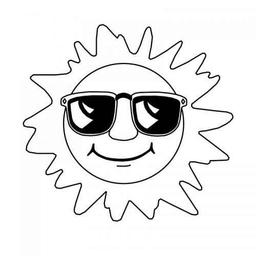 disegno del sole con occhiali