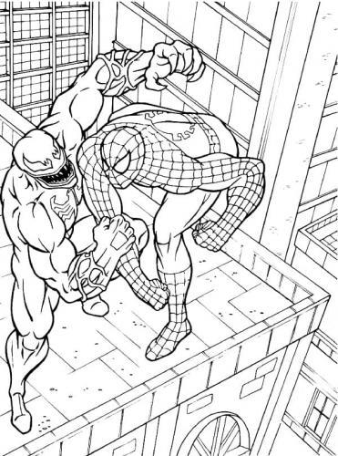 spiderman e venom da colorare
