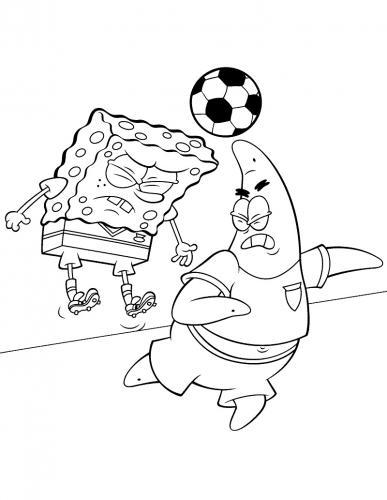 Patrick e Spongebob giocano a calcio