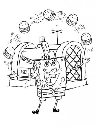 Spongebob giocoliere con i panini