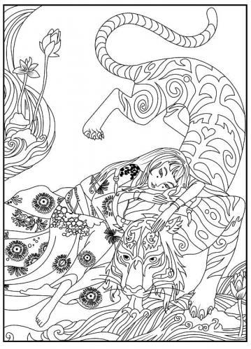 stampa e colora tigre mandala