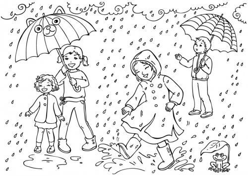 Bambino con ombrelli