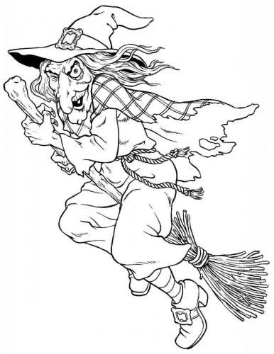 la strega di Halloween sulla scopa