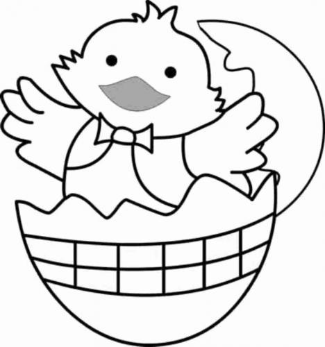 uova di pasqua con pulcino da colorare