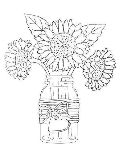 vaso di girasoli van gogh da colorare